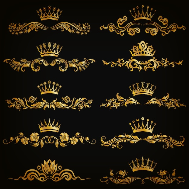 Ensemble d'ornements damassé de vecteur avec des couronnes Vecteur Premium