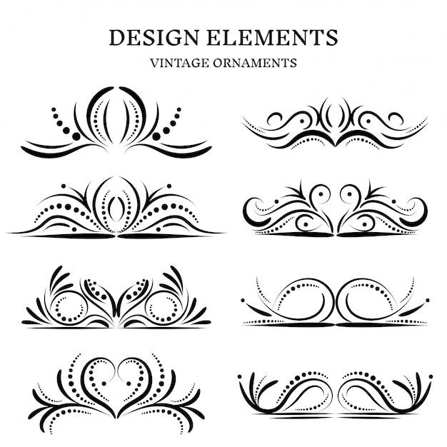 Ensemble d'ornements design vintage Vecteur Premium