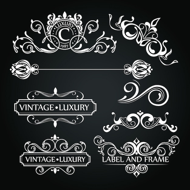 Ensemble d'ornements de luxe pour étiquette ou logo Vecteur gratuit