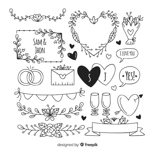 Ensemble d'ornements de mariage décoratifs dessinés à la main Vecteur gratuit