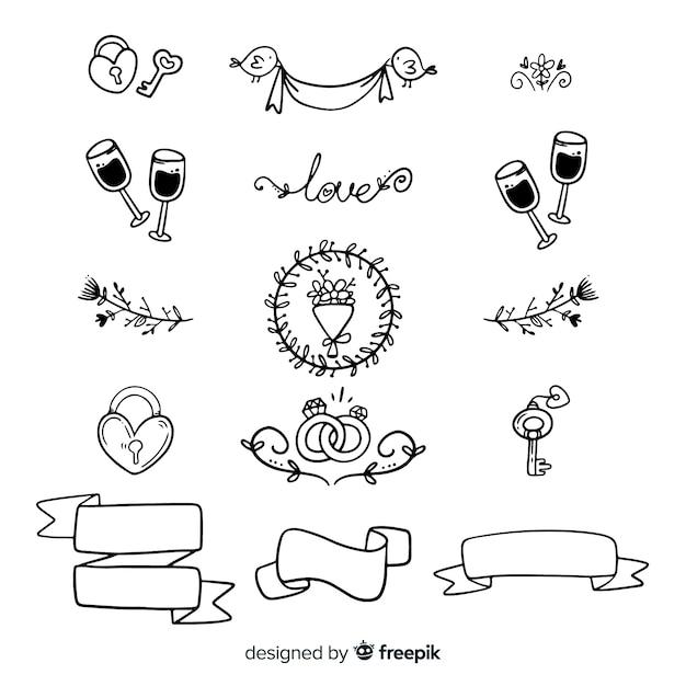 Ensemble d'ornements de mariage dessinés à la main Vecteur gratuit