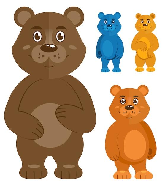 Ensemble d'ours en peluche décoratif Vecteur gratuit