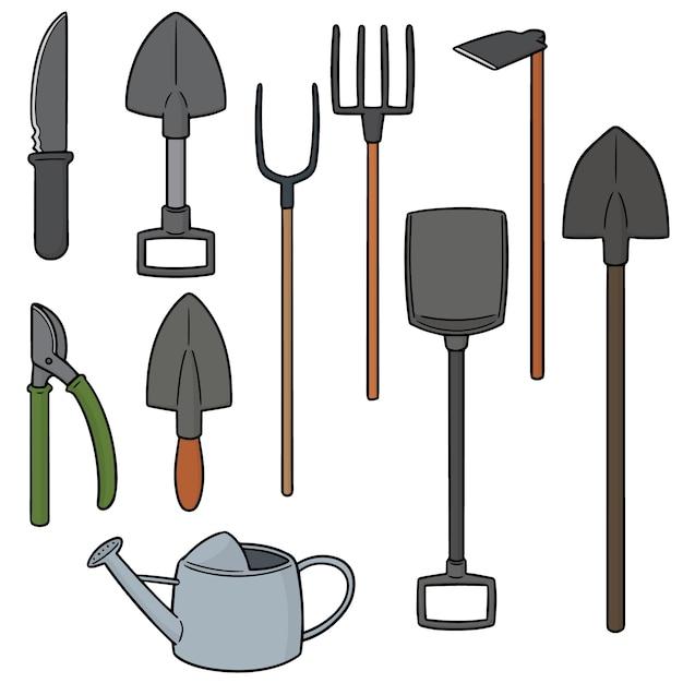 Ensemble d'outil de jardinage Vecteur Premium