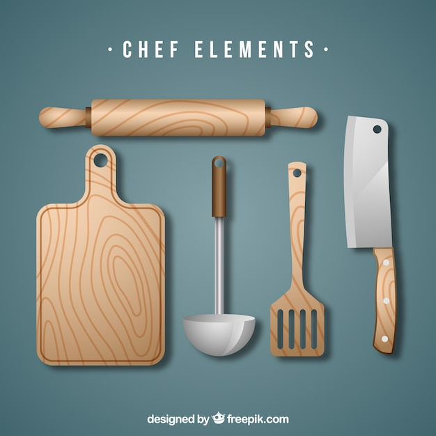 Ensemble d'outils de cuisine en bois Vecteur gratuit