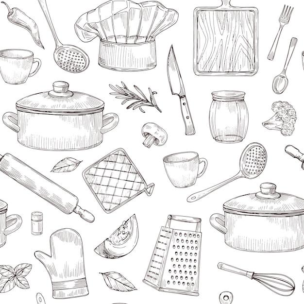 Ensemble D'outils De Cuisine Vecteur Premium