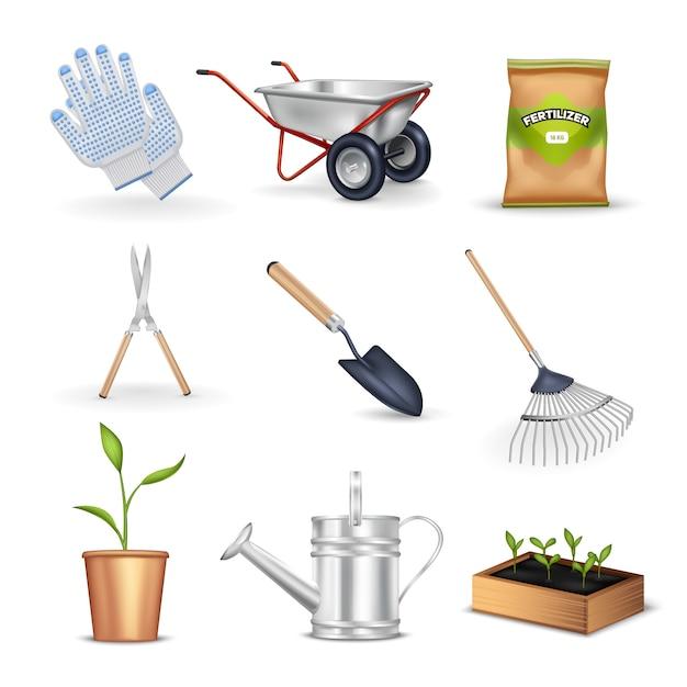 Ensemble d'outils de jardinage Vecteur gratuit