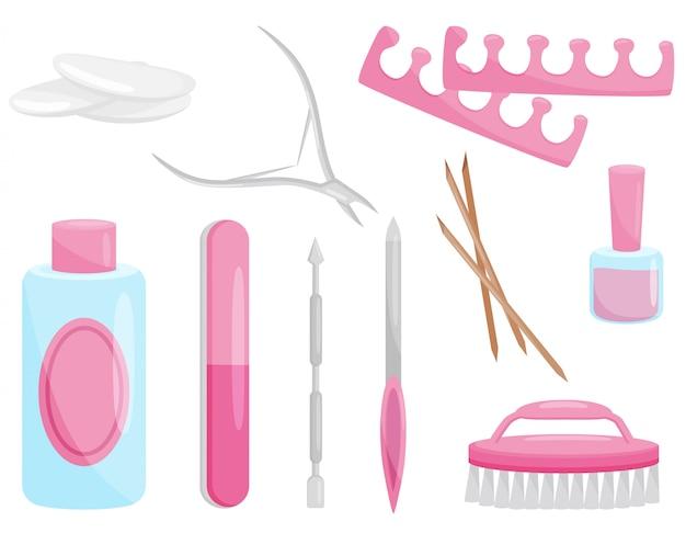 Ensemble D'outils De Manucure Et De Pédicure. Instruments Professionnels Pour Le Soin Des Ongles. Thème Beauté Vecteur Premium