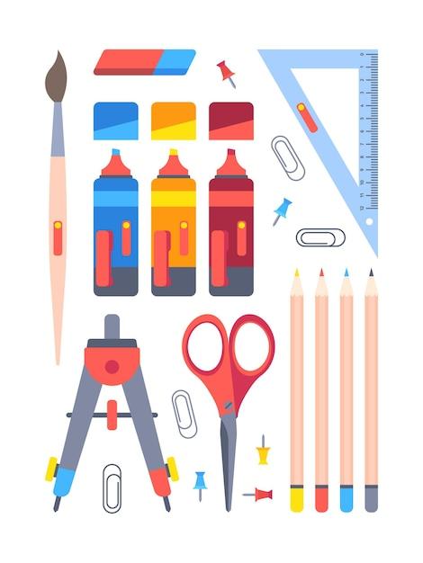 Ensemble D'outils De Papeterie De Bureau. Matériel De Travail Et D'étude Marqueurs Boussole Géométrique Rouge Bleu Avec Des Ciseaux Crayons Pour La Coloration Des Trombones Broches Fixation. Vecteur Premium