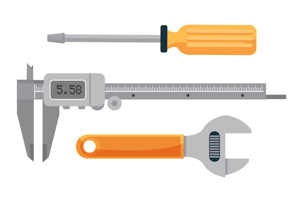 Ensemble D'outils De Plomberie, Clé à Molette, Tournevis Et étrier électronique Pour La Mesure. Vecteur Premium