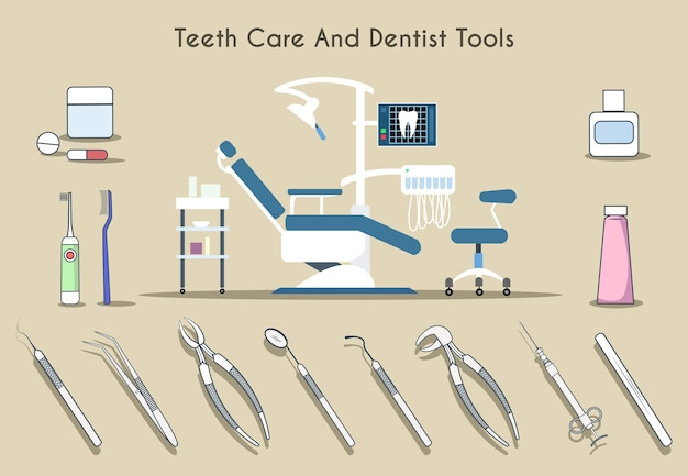 Ensemble D'outils De Soins Des Dents Et De Dentiste Vecteur gratuit