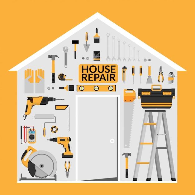 Ensemble d'outils de travail de réparation de maison bricolage sous le toit en forme de maison Vecteur Premium