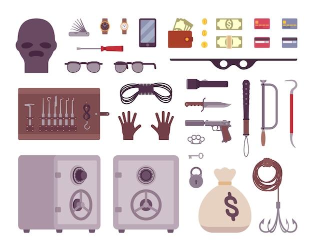Ensemble d'outils de voleur Vecteur Premium