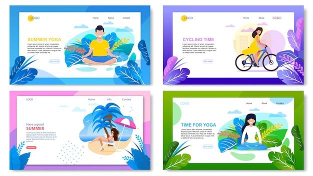 Ensemble de page d'atterrissage de publicité active de vacances d'été Vecteur Premium