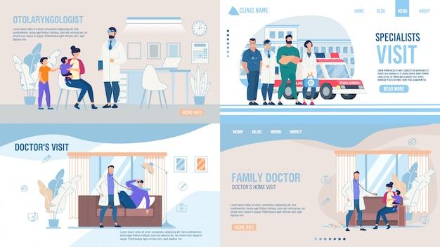 Ensemble De Page D'atterrissage De Service De Société Médicale Vecteur Premium