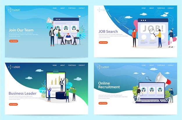 Ensemble de page d'atterrissage avec le thème du travail, illustration Vecteur Premium