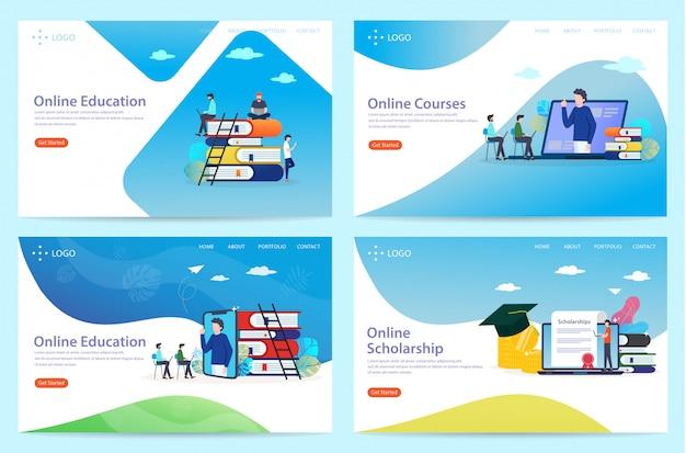 Ensemble de page d'atterrissage sur le thème de l'éducation, illustration Vecteur Premium