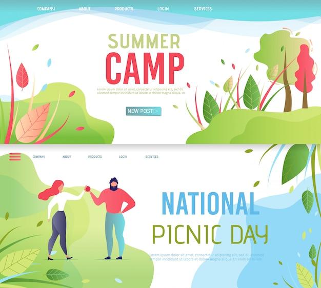 Ensemble de pages d'atterrissage pour le camp d'été et la journée nationale de pique-nique Vecteur Premium