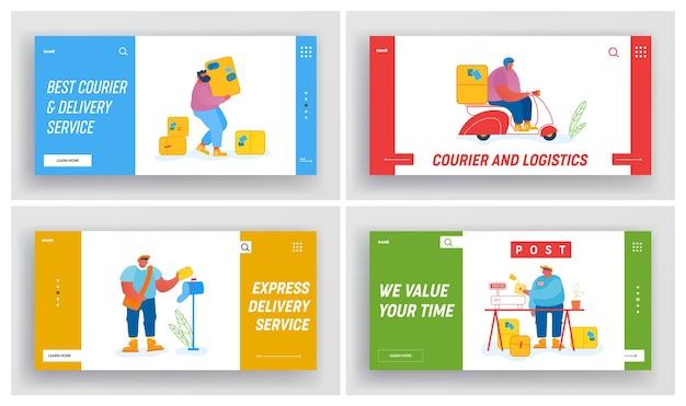 Ensemble De Pages De Destination Du Site Web Des Employés De Bureau De Poste Vecteur Premium