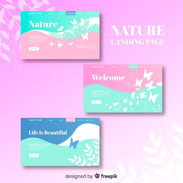 Ensemble de pages de destination nature couleur pastel Vecteur gratuit