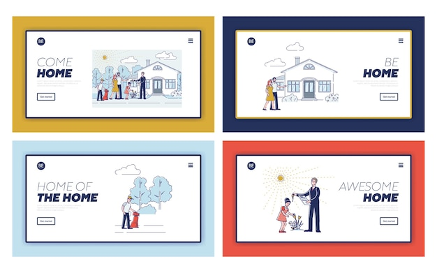 Ensemble De Pages De Destination Pour La Conception De Sites Web D'agence Immobilière Vecteur Premium