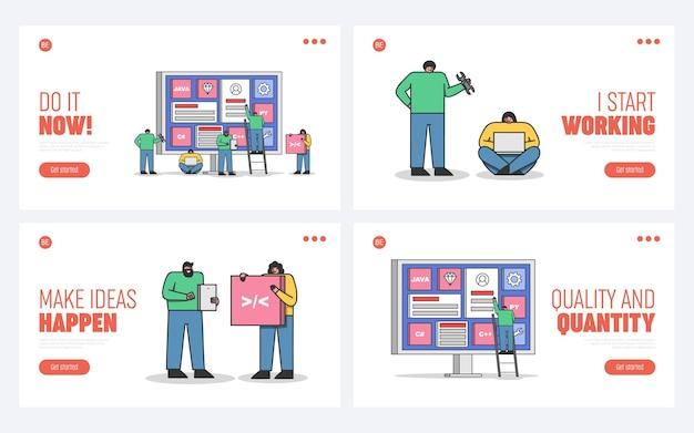 Ensemble De Pages De Destination Pour Le Développement Web, Le Codage Et La Programmation De Sites Web Et D'applications Mobiles Avec L'équipe De Programmeurs Et De Développeurs De Dessins Animés Vecteur Premium