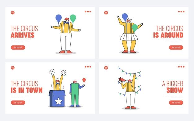 Ensemble De Pages De Destination Pour Site Web De Cirque Avec Des Personnages De Clown De Dessin Animé Vecteur Premium