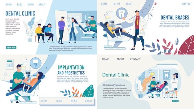 Ensemble De Pages De Destination Des Services De Soins Dentaires Vecteur Premium