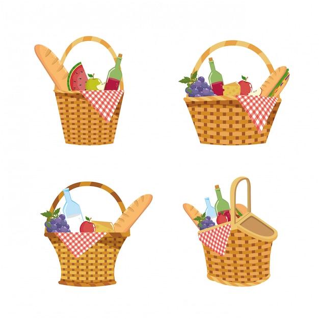 Ensemble de panier avec décoration de nourriture et de nappe Vecteur gratuit
