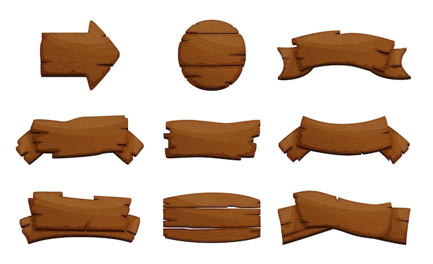 Ensemble De Panneaux En Bois. Planches Et Planches Rustiques Brutes, Enseignes. Vecteur Premium