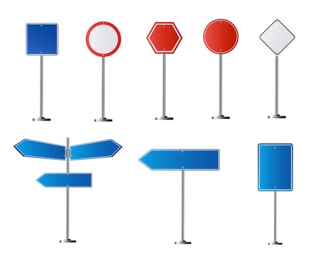 Ensemble De Panneaux Routiers Isolé Sur Fond Blanc. Illustration Vecteur Premium