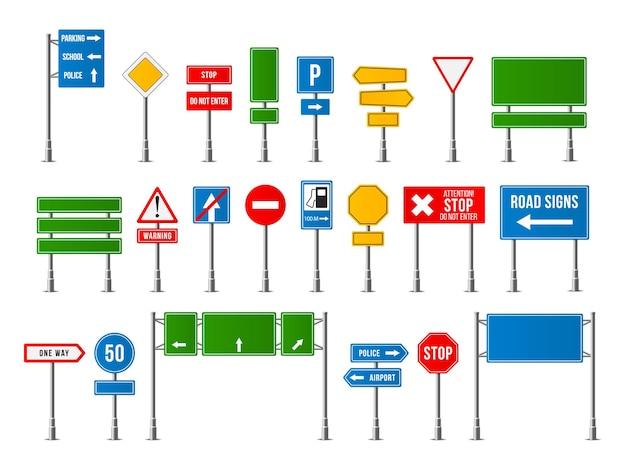 Ensemble De Panneaux De Signalisation Réalistes. Symbole De Signalisation Routière. Vecteur Premium