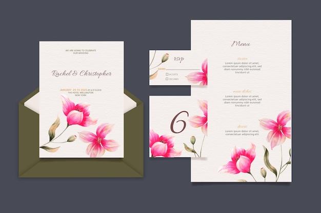 Ensemble De Papeterie De Mariage Floral Vecteur gratuit