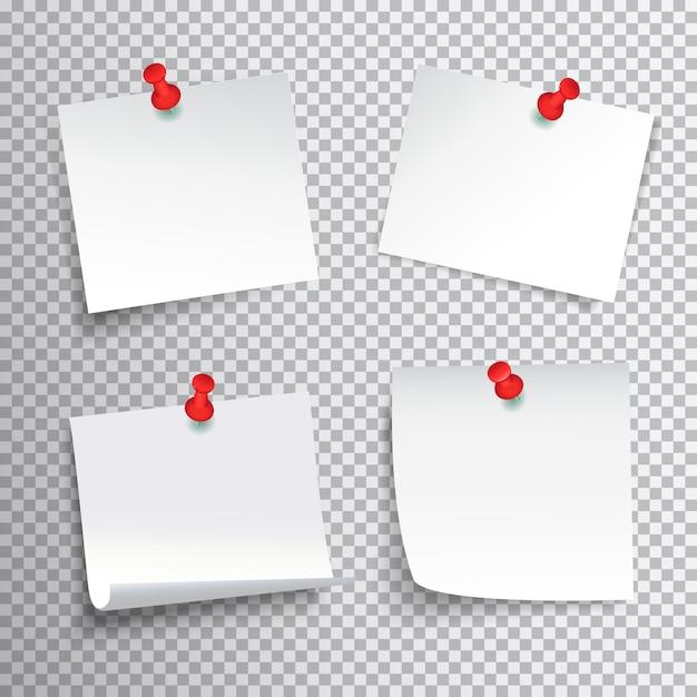Ensemble De Papier Blanc Vierge épinglé Avec Des Punaises Rouges Sur Fond Transparent Réaliste Illustration Vectorielle Isolé Vecteur gratuit