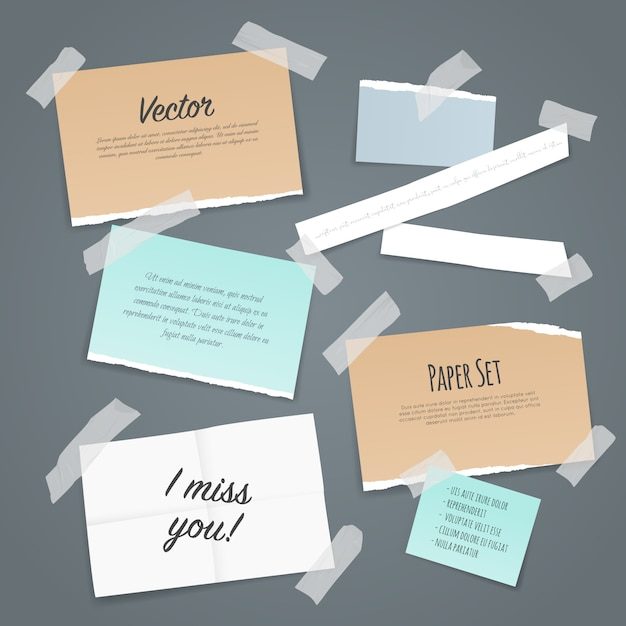 Ensemble De Papier Collant Vecteur gratuit
