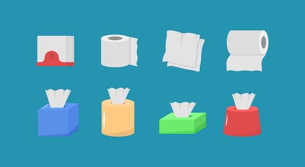 Ensemble De Papier De Tissu De Dessin Animé Mignon, Boîte De Rouleau, Utilisation Pour Les Toilettes, Cuisine Au Design Plat. Produits Hygiéniques. Le Produit En Papier Est Utilisé à Des Fins Sanitaires. Ensemble D'icônes D'hygiène. Vecteur Premium