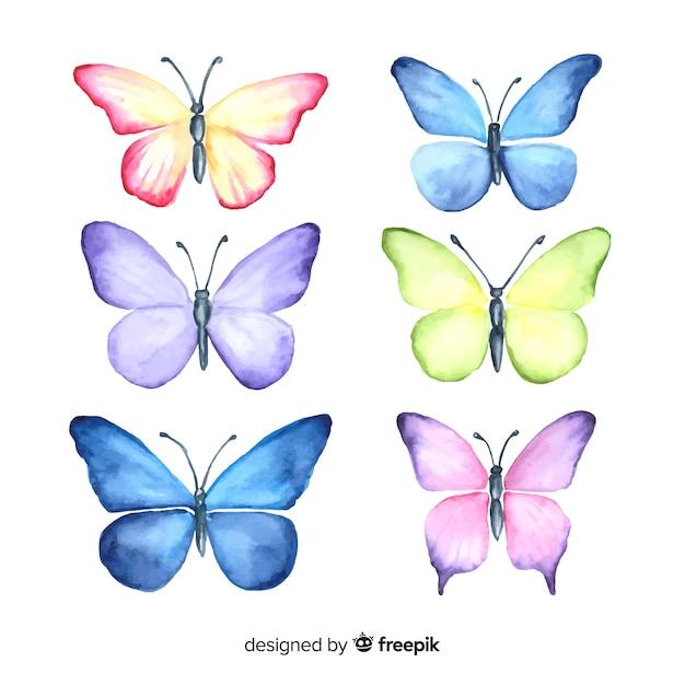Ensemble papillon dessiné à la main Vecteur gratuit