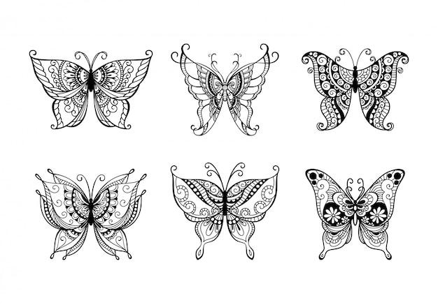 Ensemble De Papillons D'art De Ligne De Décoration Vecteur Premium