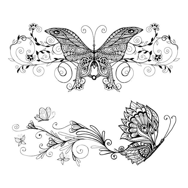Ensemble de papillons décoratifs Vecteur gratuit