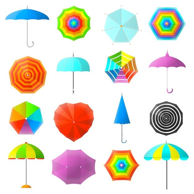 Ensemble de parapluies colorés plats. Vecteur Premium