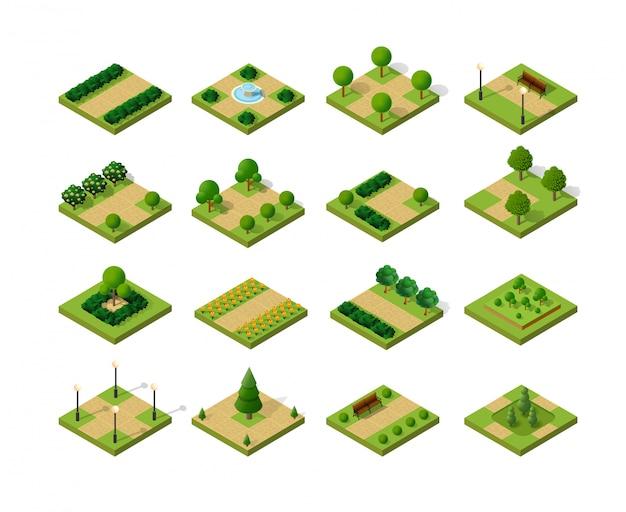 Ensemble de parcs urbains isométriques Vecteur Premium