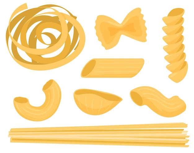 Ensemble De Pâtes Sèches, Farfale, Fusilli, Conchiglio, Rigatoni, Spaghetti. Vecteur Premium