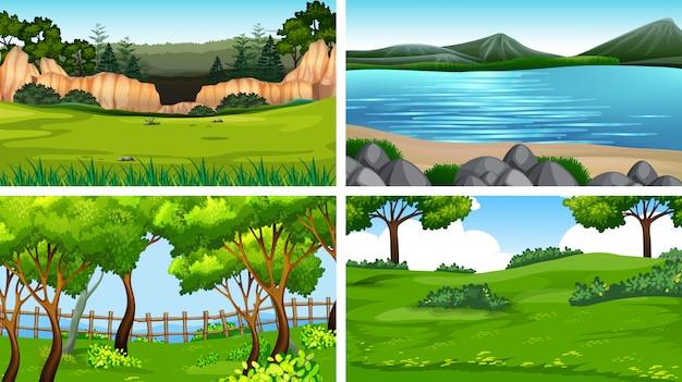 Ensemble de paysage natre Vecteur gratuit