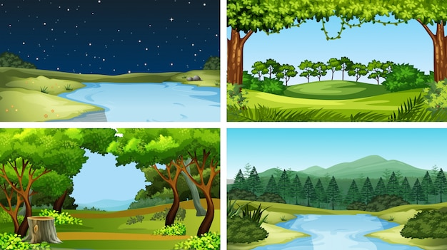 Ensemble de paysage naturel Vecteur gratuit