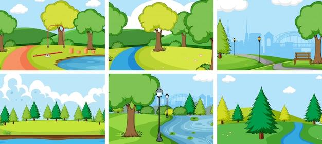 Ensemble de paysage de parc naturel Vecteur gratuit