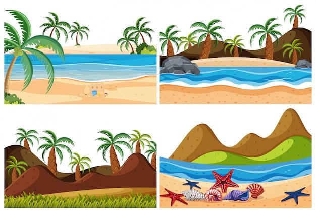 Ensemble de paysage de plage Vecteur Premium