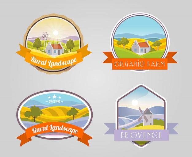 Ensemble de paysage rural Vecteur gratuit