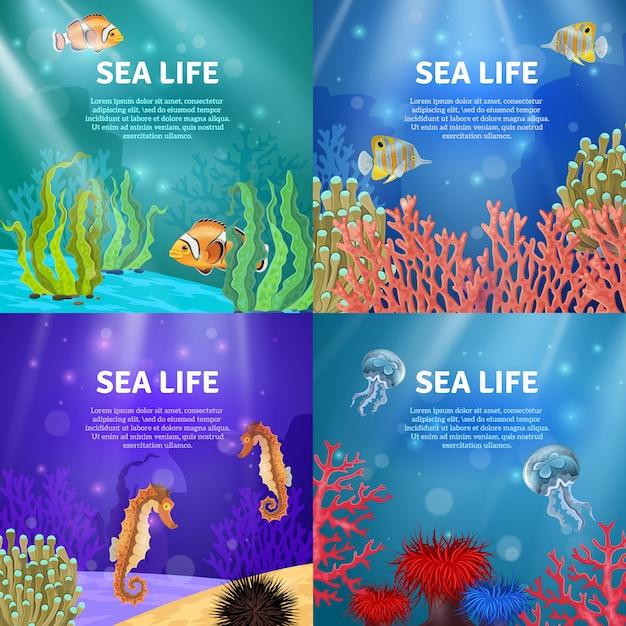 Ensemble de paysage sous-marin Vecteur gratuit