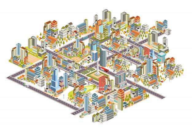 Ensemble De Paysage Urbain 3d Isométrique Avec Des Bâtiments, Rue, Maisons Et Beaucoup Plus. 3d Illustration Vecteur De Conception Vecteur Premium