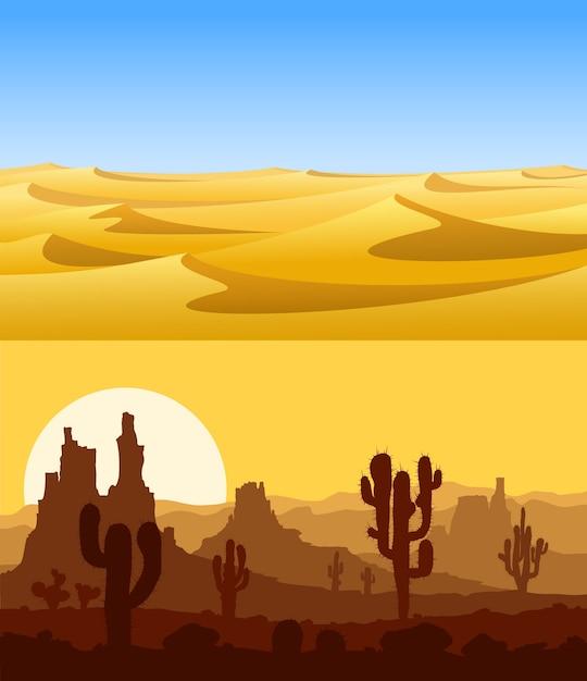 Ensemble De Paysages Désertiques Avec Des Dunes De Sable Jaune, Des Cactus, Des Montagnes Et Un Ciel Bleu. Vecteur Premium