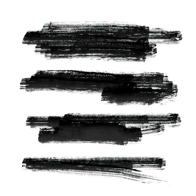 Ensemble de peinture noire brosse avc vector background Vecteur gratuit